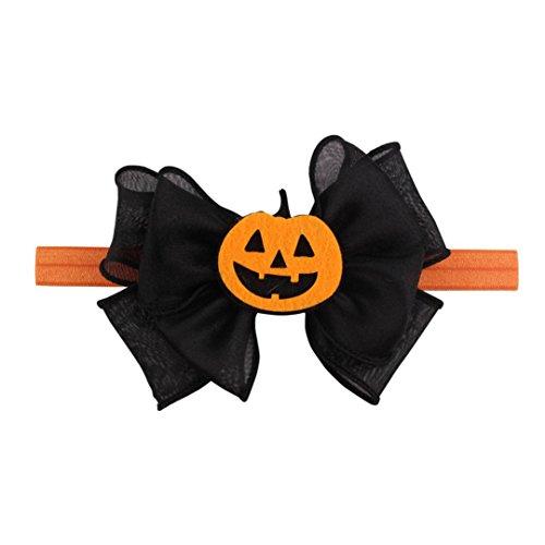 Halloween Kopfbedeckung ZahuihuiM , Mädchen Säuglings-Haar-Band Nette Kürbis Stirnbänder Bowknot Zubehör (A)