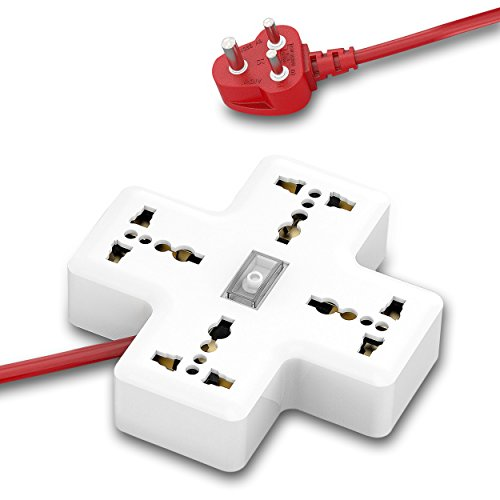 APPUCOCO-Power Plus Series Extension Board with 4 outlet international sockets, 1 LED light indicator master switch, and 6 feet power cord - 10 AMP, WHITE