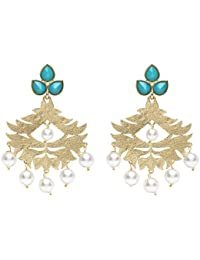 13db42b03aa Stylepotion Stylish Afghani Alloy Gold Colour Plated with Colour Stone  Crystal Pearl Big Dangler Chandelier Earrings
