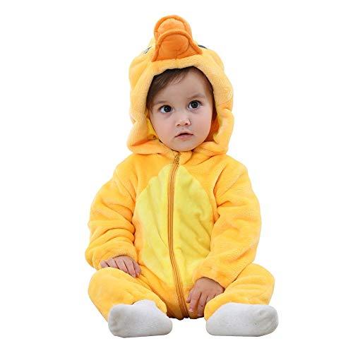 Baby Kostüm Ente - NELNISSA Babyspielanzug Winter Reißverschluss Schneeanzug Cartoon Tier weich mit Kapuze Overall (Ente 12-18M)