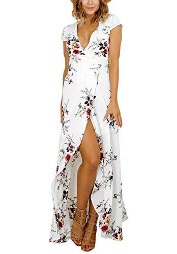 Damen Blusenkleider Reizvoll StrandKleid SommerKleid Blusenkleid Cocktailkleid Druckkleider Freizeitkleider Weiß
