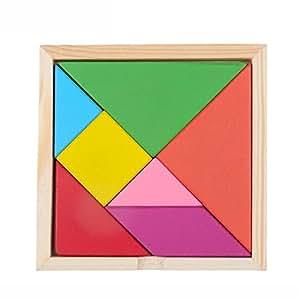 D-Mark Blocks Colorful Motif Tangram en bois Puzzle Tangram Brain Teaser jouet pour garçons et filles d'âge préscolaire