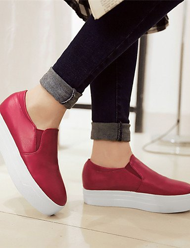 ZQ Scarpe Donna - Mocassini - Tempo libero / Formale / Casual - Plateau / Creepers / Punta arrotondata - Plateau - Finta pelle -Nero / Rosso , red-us10.5 / eu42 / uk8.5 / cn43 , red-us10.5 / eu42 / uk white-us8 / eu39 / uk6 / cn39