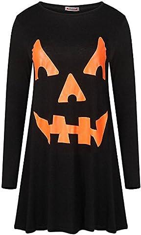 Womens Ladies Long Sleeve Halloween Pumpkin Cobweb Bats Skulls Flared Smock Skater Swing Dress Top
