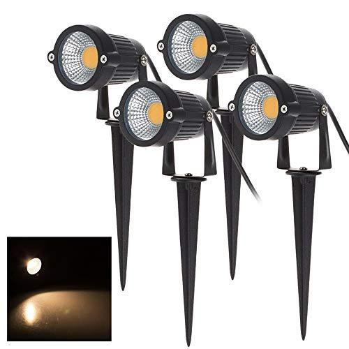 BLOOMWIN 4PCS COB Faretto da Giardino Proiettore LED Spot con Picchetto Esterno IP65 Bianco Caldo 5W 500LM 220V per Esterno Giardino