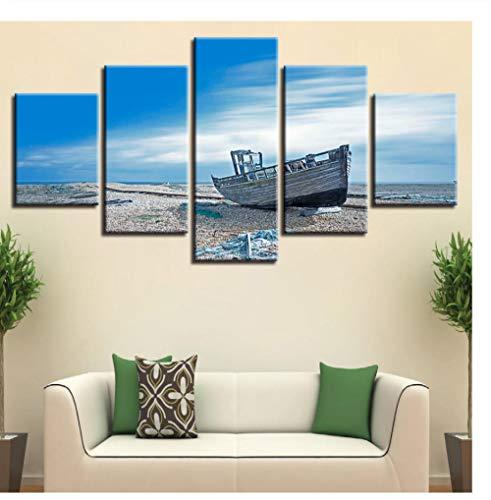 Mashanglaile Zimmer Wand Art Deco Bild Hd 5 Strandboot Blauer Himmel Weiße Wolke Naturlandschaft Modular