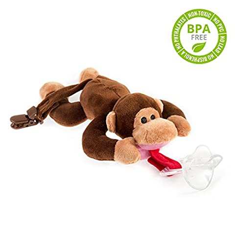 BabyHuggle Monkey Pacifier - Stuffed Animal Binky, Soft Plush Toy with Detachable Silicone Baby Dummy, Paci Clip Leash, Squeaky Sound. Teether Holder. Safe & Soothing Baby Shower Gift for Boys &