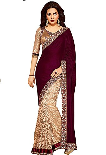 LADY LOOP Women's Velvet & Net Saree (SMIX-06_Maroon _Free Size)  available at amazon for Rs.499