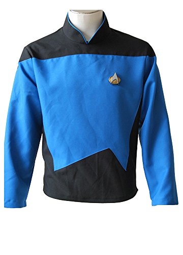 MingoTor Star Trek TNG The Next Generation Teal Shirt Uniform Cosplay Kostüm Herren XS (Star Trek Next Generation Kostüm Shirt)