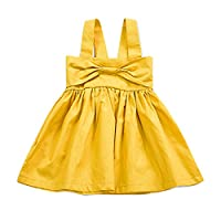 Puseky Baby Girl Strap Big Bowknot Princess Pleated Tutu Dresses Summer Sundress (6-12 Months, Yellow)