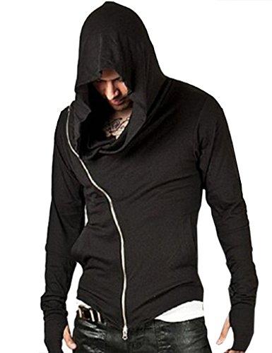 Zacoo Uomo Credo Slim Fit Cappotti con cappuccio di Assassin Size M Nero