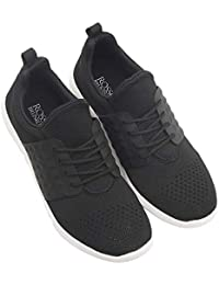ROSSO BRUNELLO Men's Black Sneakers Running Shoes