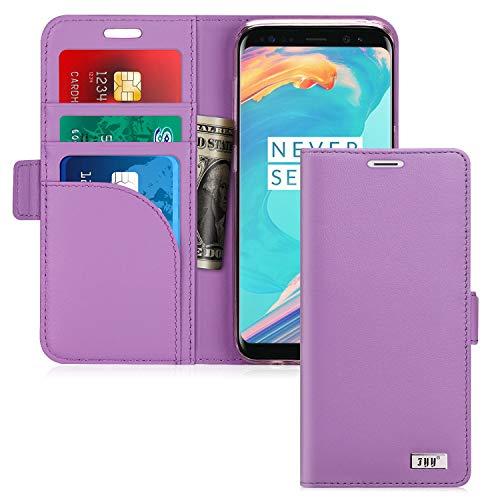 Samsung Galaxy S9Fall, fyy [Echtleder] 100% Handmade Wallet Schutzhülle mit ausklappbarem Ständer [verhindern Karte Daten Technik] und [Feature] für Samsung Galaxy S9, Lagenta