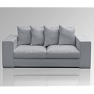Amaris Elements Cooper Modern 3 Seater Sofa Including 5 Cushions 100% Microfibre Velvet Look Light Grey 3 Seater Sofa in Country House Style
