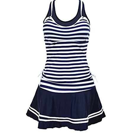 TDOLAH Tankini Maillot de bain Rayure Bleu avec Double Bretelle 2 Pièce Bikini Jupe Femme ronde