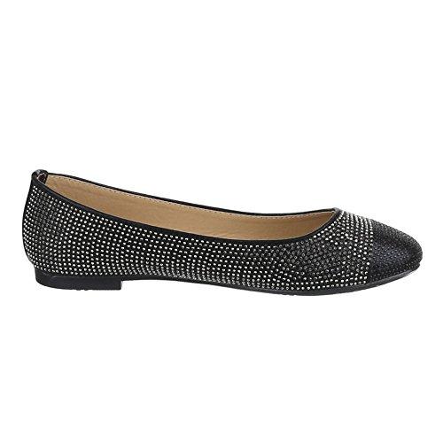 Damen Schuhe, JA10122, BALLERINAS PUMPS Schwarz