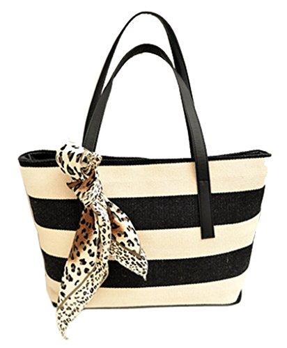 Canvas Stripes Shoulder Bag Tote Purse Womens Travel Beach Handbagby Flying Birds, Black