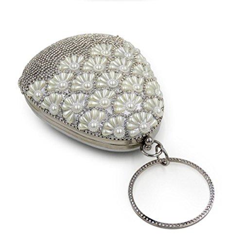 Borsa Della Perla Del Sacchetto Di Sera Del Diamante Delle Donne Silver