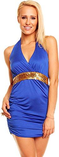 Damen Kleid Minikleid Rückenfrei Neckholder V-Ausschnitt goldfarbene Pailletten Pink 32-38