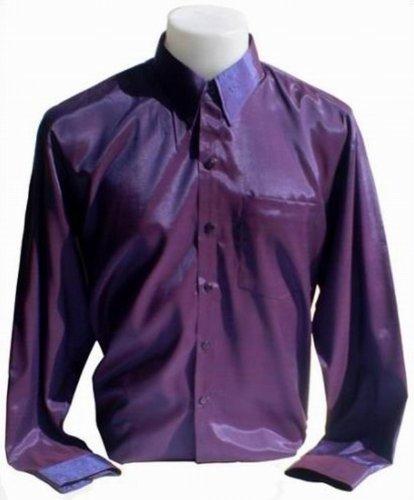 Chemise en soie thaïlandaise hommes à Manche Longue / Pourpre Taille XL