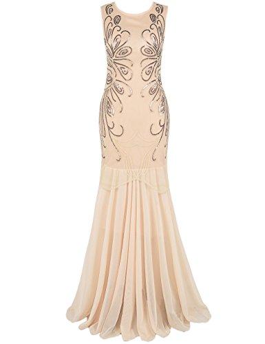 PrettyGuide Damen Ballkleid Paillette Lange Gatsby Formal Abendkleid XL (Pfauenfeder Schwanz Kostüm)