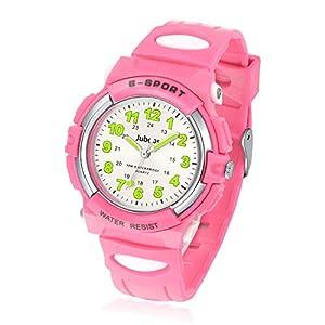 Juboos Kinderuhr Jungen M?dchen Analog Quartz Uhr mit Armbanduhr Gummi Wasserdicht Outdoor Sports Uhren-JU-001(Rosa)