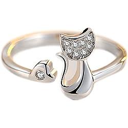 Hosaire Anillos de Apertura Metal-Ajustable mujeres Nuevo Estilo de Plata de Diamante en Forma de Pequeño Gato