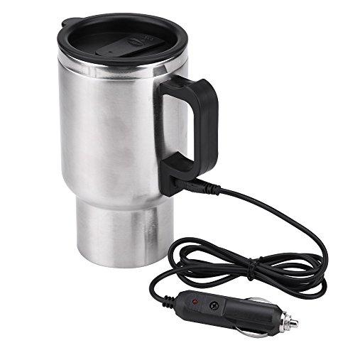 Qiilu 12V 450ml Coche Hervidor de agua eléctrico de Acero inoxidable Copa de calentamiento de viaje Café Té Copa Jarra