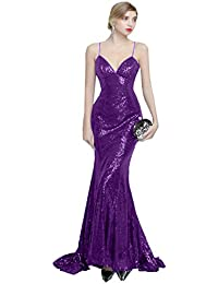 JinXuanYa Womens Womens Mermaid Sequined Formal Evening Dress for Wedding Prom Gown