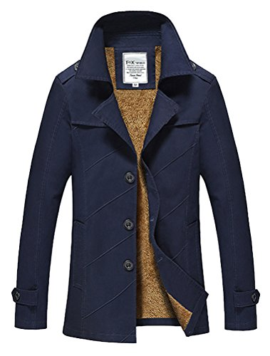 Vogstyle Herren Jungen Langarm Cabanjacke Reverskragen Trenchcoat Mantel Kurzmantel Einreihig Jack Anzug Art 1 Blau M Fur
