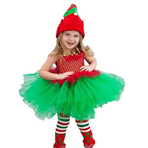 WOZOW Mädchen Kleinkind Spaghetti Trägerkleid Mesh Tüllrock Plaid Kariert Bowknot Süß Prinzessin Festliche Minirock Weihnachten Fasching ()
