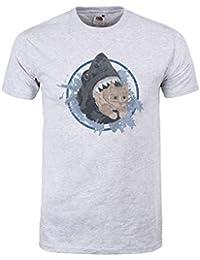 Grindstore Men's Kitten Vs Shark T-Shirt Grey