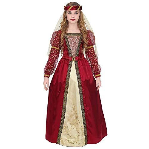 Widmann 07336 Kinderkostüm Mittelalter Prinzessin, Mädchen, Rot, Gold, 128