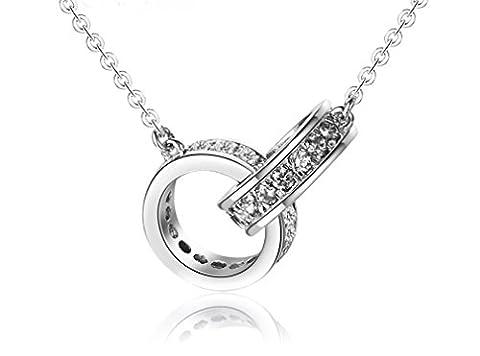 Forfamilyltd Sterling Silver Infinity Interlocking Crystal Ring Chain Pendant