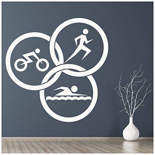 azutura Triathlon-Kreise Wandtattoo Laufen Sie Leichtathletik Wand Sticker Fitnessstudio Dekor verfügbar in 5 Größen und 25 Farben X-Groß Burgunder