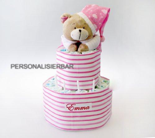 Windeltorte, rosa XXL mit NAMEN und Spieluhr Bär Geschenk zur Geburt Geschenk zur Taufe o. Babyshower, personalisiertes Babygeschenk, Neugeborenen Geschenk