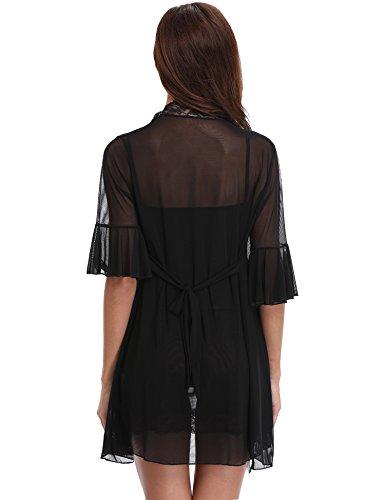 Aibrou Damen Sexy Reizwäsche Babydoll Dessous Chemise Nachthemd Lingerie Negligee Nachtwäsche Kimono Zwei Stücke Sleepwear mit G String