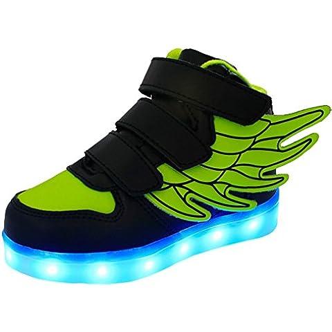 LED 7 Colori Cambi- Sneaker Scarpe con Ali Bambini Bambina Unisex Collo Basso con Velcro, Presa USB Ricarica Sport Regali Originali Compleanno Natale Ragazza Ragazzi Scarpe Piatte