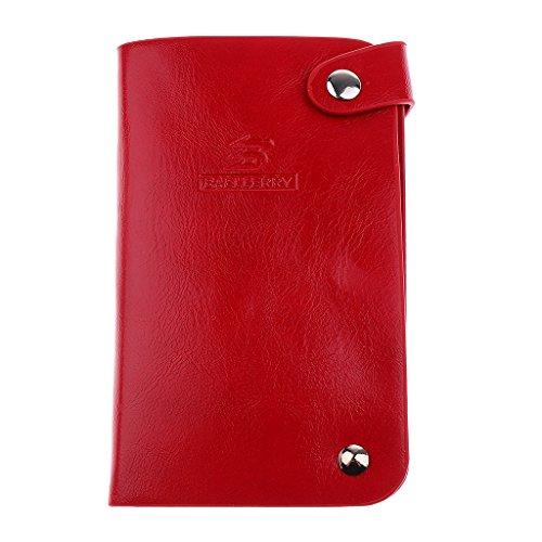 Trifold PU-Leder Herren Geldbörse Brieftasche Geldbeutel Kreditkartenetui Visitenkartenetui Kartenetui Geldbörse - Rot, one size (Tri-fold Kreditkarte)