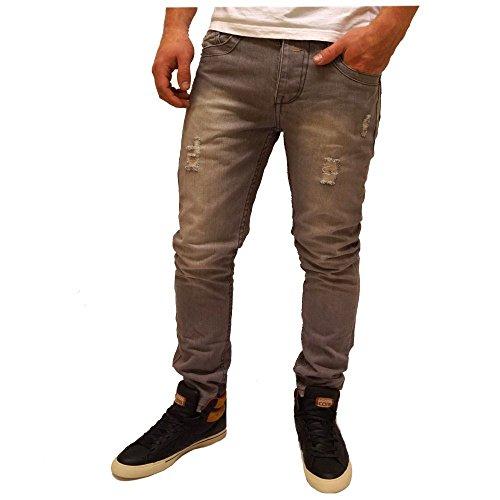 Hosen Herren Jeans Jean Hose Slim Fit 5 Pocket Grau Grau