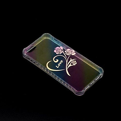 Coque iPhone SE, Étui iPhone 5S, iPhone 5 Case, ikasus® Coque iPhone SE/iPhone 5S Créatif Dégradé coloré arc en ciel Plaquage des couleurs Housse de protection en caoutchouc flexible Silicone Étui Hou Rose Amour
