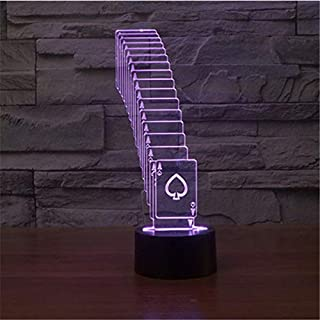 GYBYB Poker Magic 3D Night Light 7 Colors Gradient with AAA Battery Slot Ace USB LED Table Lamp