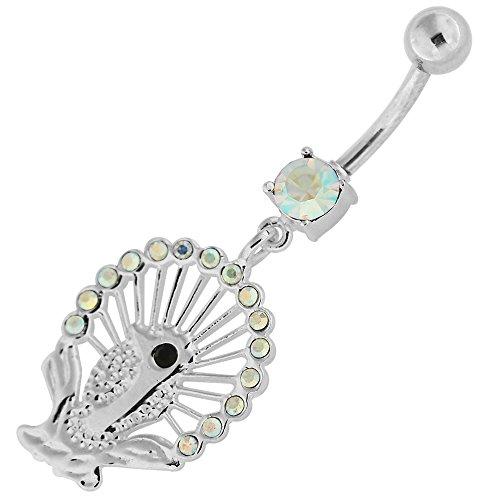 Fantaisie paon pendantes en argent 925 avec acier inox Belly Arc en ciel