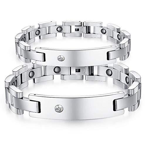 AnazoZ Schmuck Edelstahl Kette Link Armband Für Couple Rectangle Tag Zirkonia Wristband ()