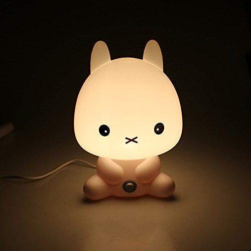 Nachtlicht LED Kinder Silikon Stimmungslicht mit Schalter Nachttischlampe LED Stimmungslichter für Kinder Mädchen Kinderzimmer (Kaninchen)