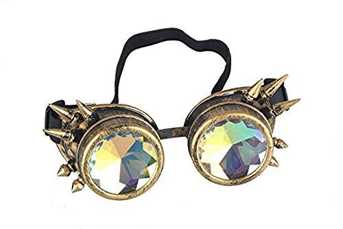 DODOING Kaleidoskop-Brille Steampunk, Goggles mit Rainbow Crystal Gläser - für Weihnachten, Halloween, Cosplay, Tanzparty, Convert, Musik Festival, EDM, Light Show, Foto Stütze, (Brillen Halloween)