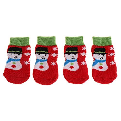 Teil Kostüm Vier - JAGETRADE 4 Teile/Satz Pet Socken Weihnachten Warme Beschützer Hundewelpen Katze Kätzchen Rutschfeste Gestrickte Weiche Atmungsaktive Indoor Klaue Pfote Schutz, Schneemann Medium