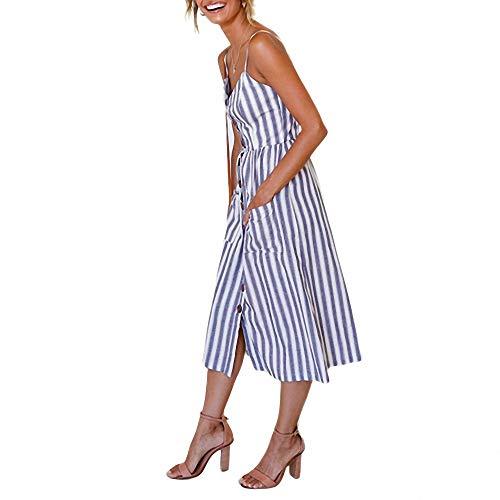 YuJian12 Casual Vintage Sommerkleid Frauen Sommerkleid Boho Sexy Kleid Midi Button Backless Polka Dot Striped Floral Strandkleid Female-in Kleider von Frauen Dunkelblau (Girls Yellow Polka Dot Kleid)
