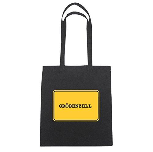 JOllify GRÖBENZELL Baumwolltasche Tasche Beutel B1638black - Farbe: schwarz: Ortsschild