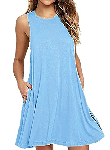 NELIUYA Women's Summer Sleeveless Pockets Swing T-shirt Casual Dresses (Small, Light Blue)